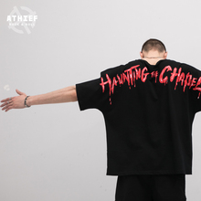 Athief Tide card  terror Rocking Even sleeves T-shirt male Blood drops letter Large printing Loose Short sleeves Shirt