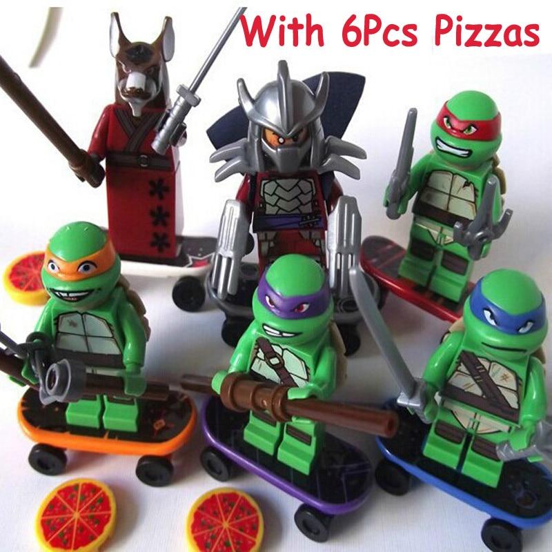 6Sets Turtles Leonardo Raphael Michelangelo Donatello Figure Blocks Compatible Legoe Construction Building Toys For Children
