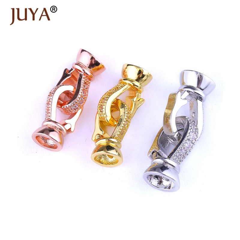 Supplies For Jewelry 2018 NEW Copper CZ Rhinestone Round And Infinity Clasps Hooks For DIY Pearls Necklace Bracelet Accessories