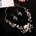100% ручной работы кристалл ожерелья серьги свадебные аксессуары ювелирные изделия перлы многослойных ожерелье золотые свадебные комплекты ювелирных изделий