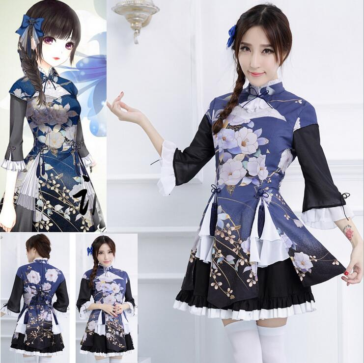 Japanese Kimono Anime Costume Maid Outfit Hot Game Cosplay ...