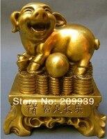 Hd0806 Oryantal geleneksel Kültürü Saf Bronz el sanatları Zodyak Domuz Heykeli (A0314)|statue bronze|statue antiquestatue fountain -