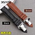 18mm/20mm/22mm Handmade Italiano Preto/Brown Genuine Leather Assista Banda Strap borboleta Do Vintage fecho Strap para Breitling