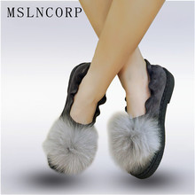 Plus Size 34-45 Casual Women Shoes Winter Real Rabbit Fur Platform Flats Warm Loafers Ladies Shoes Slip On Ladies Zapatos Mujer dqg 2018 spring casual women shoes loafers flats slip on zapatos mujer solid ladies shoes oxfords chaussures femme