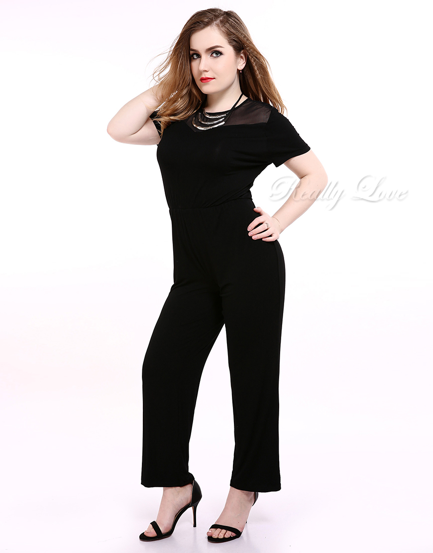 Cute Ann Womens Black Plus Size Mesh Jumpsuits And Romper Short Sleeve Stretchy Full Length Summer Spring Casual Party Wear