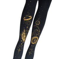 Yidhra The Gate Of Rolling Star Series Steampunk Style Lolita Tights Gothic Black And Gold Pantyhose