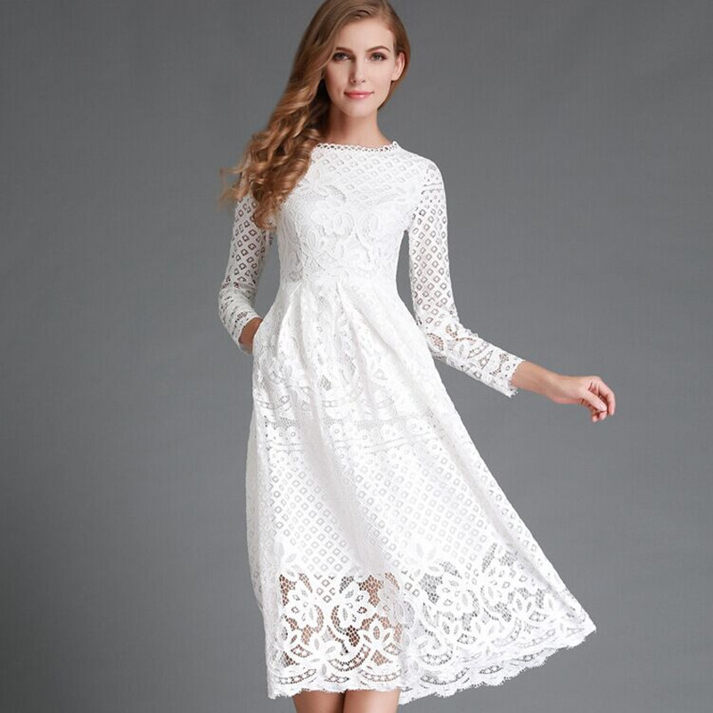 Summer Fall Dress Women Plus Size 2XL Spring Casual 2019 Lace Floral Hollow out  Elegant Party Vestido for Women Dress Retro