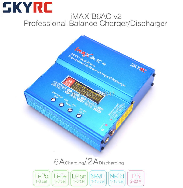 Original SKYRC IMAX B6AC B6 AC V2 Charger 50W Lipo Battery Balance RC Discharger Helicopter Quadcopter With Power Adapter skyrc d100 2 100w ac dc dual balance charger 10a charge 5a discharge nimh lipo battery charger twin channel charge