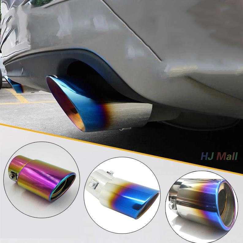 Car Curved Tail Throat Rear Universal Stainless Steel Car Rear Round font b Exhaust b font