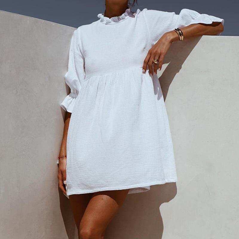 Women Ruffles Elastic Waist Loose Straight White Mini Dresses Half Sleeve Shirt Dress 2019 Summer Fashion Woman Boho Sundress