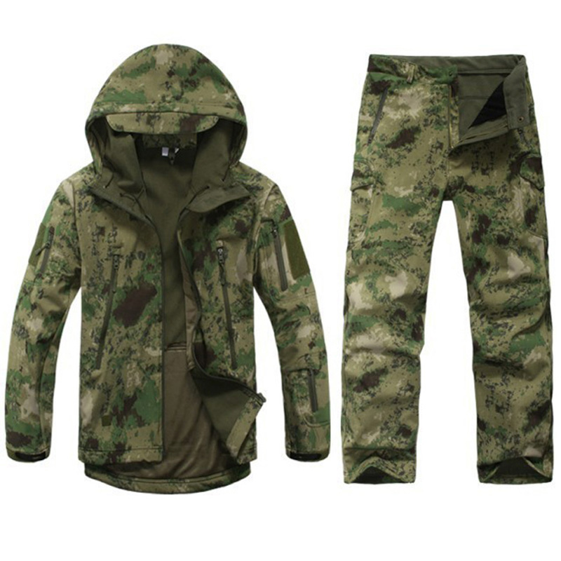 Tactical Gear Softshell Camouflage Suit Men Army Waterproof Warm Military Uniform Windbreaker Fleece Coat Military Jacket
