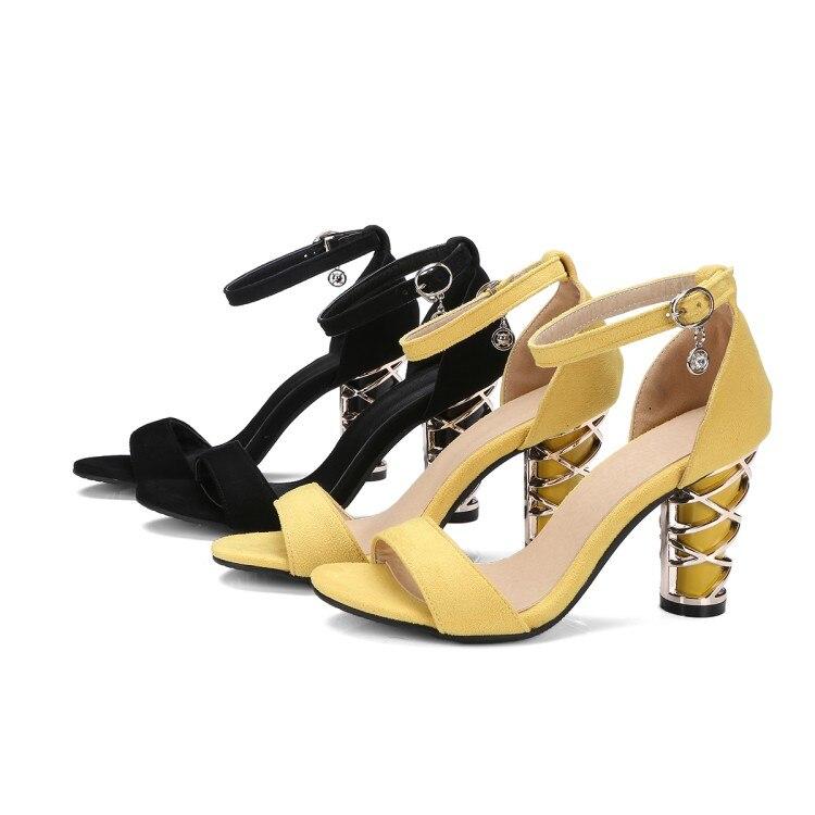 Taille Ouvert Cristal Femmes Grand 48 Noir Jaune Plus À Chaussures Bout Décoration De Large40 Sandales Hauts La D'été En Xianyiduo 9181 jaune Talons Métal fO7Wa