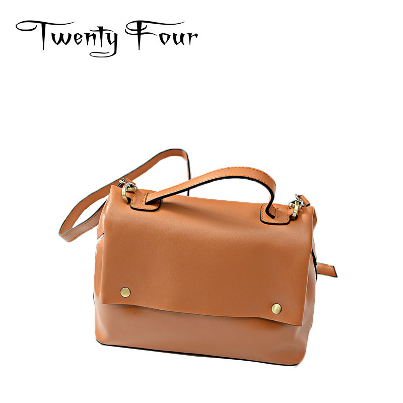 Twenty-four Luxury Genuine Leather Women Handbags With Golden Rivet Simplicity Soft Flap Bags For Young Ladies Messenger Bags twenty four women brand flap bags natural genuine leather handbags with chain solid color cover small bags young cross body bags