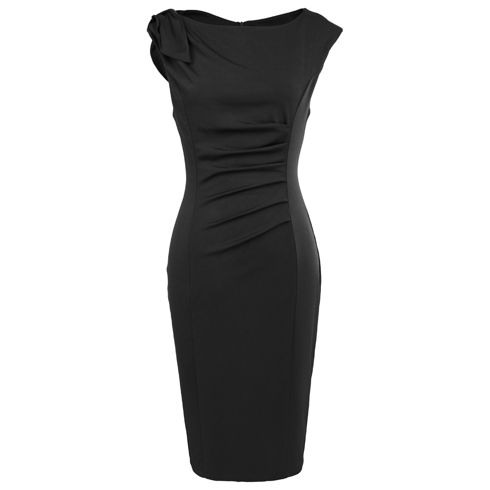 Slim Fit Sleeveless Sexy Club Party Dresses Womens Clothing 2017 Crew Neck V-Back Pleated Black Office Bodycon Pencil Dresses