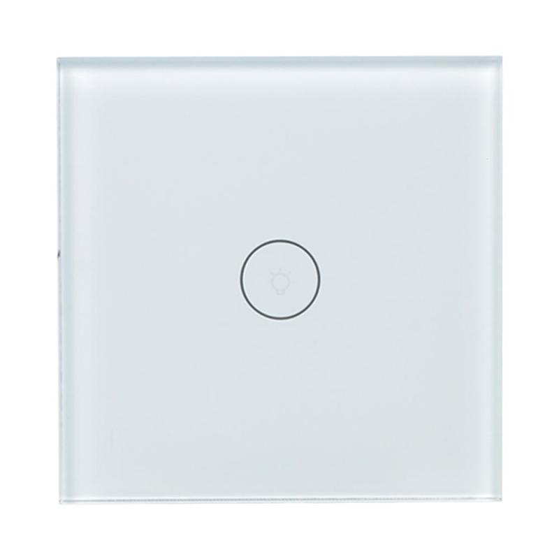 EU WiFi Smart Switch 1 Gang Wall Light Switch White Touch Panel Work with Amazon Alexa Google Home Support IFTTT Timing Function lemaic wifi smart switch 2 gang light wall switch app remote control work with amazon google alexa timing function touch screen
