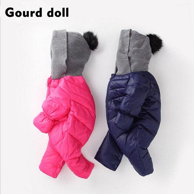 Детские девушки парни зима комбинезоны одежда Подходит 7-24 месяц сгущает вниз хлопок снег износ малыша комбинезоны пальто детские вниз и парки