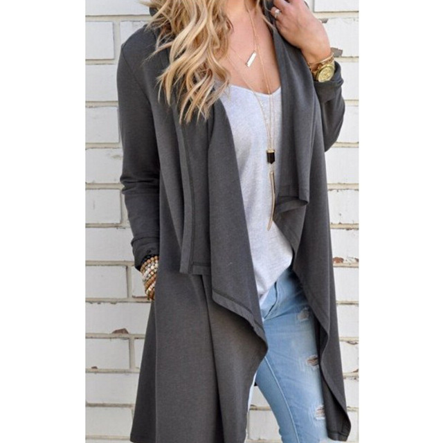 Solid Grey Knitted Sweater Coat Ladies Loose Cardigan Sweater Long ...