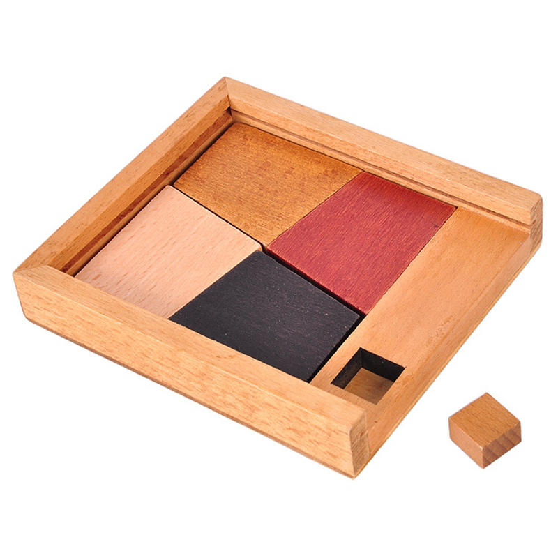 Brain Teaser Wooden 5Pcs Jigsaw Puzzle Board Geometric Shape Luban Lock IQ Puzzle Toys For Children Adult Classic Toys Education