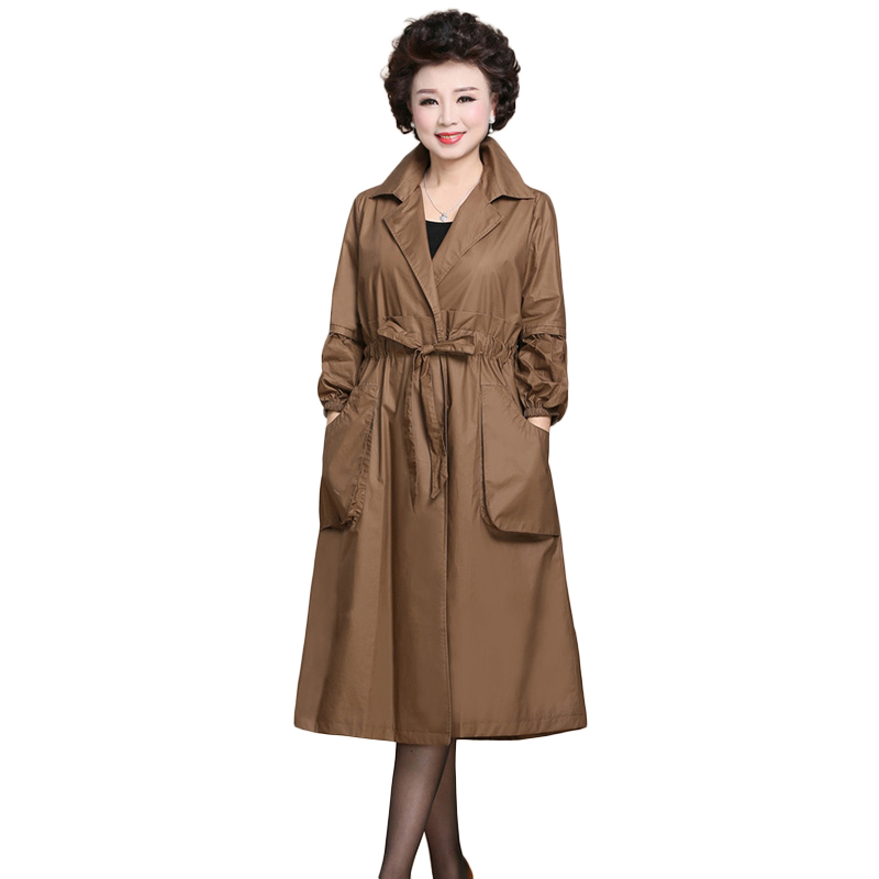 2019 Spring Autumn New Women's Casual   trench   coat oversize Solid Elegant Long Vintage Washed Outwear Loose Clothing NW1378