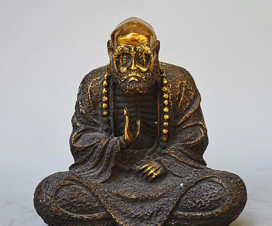 Cina Buddismo Bronzo Dorato Arhat Damo Bodhidharma Dharma di Buddha Amitabha StatuaCina Buddismo Bronzo Dorato Arhat Damo Bodhidharma Dharma di Buddha Amitabha Statua