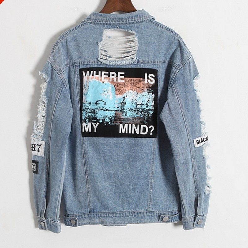 New Jeans Jacket Women Denim Broken BF Loose Jaqueta Feminina Jeans Women Basic Coats 6CT013