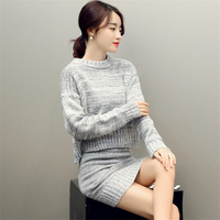 DoreenBow New Autumn Winter Style Women Skirt HIGH QUALITY O Neck Fahion Sexy Gray Wool Sweater