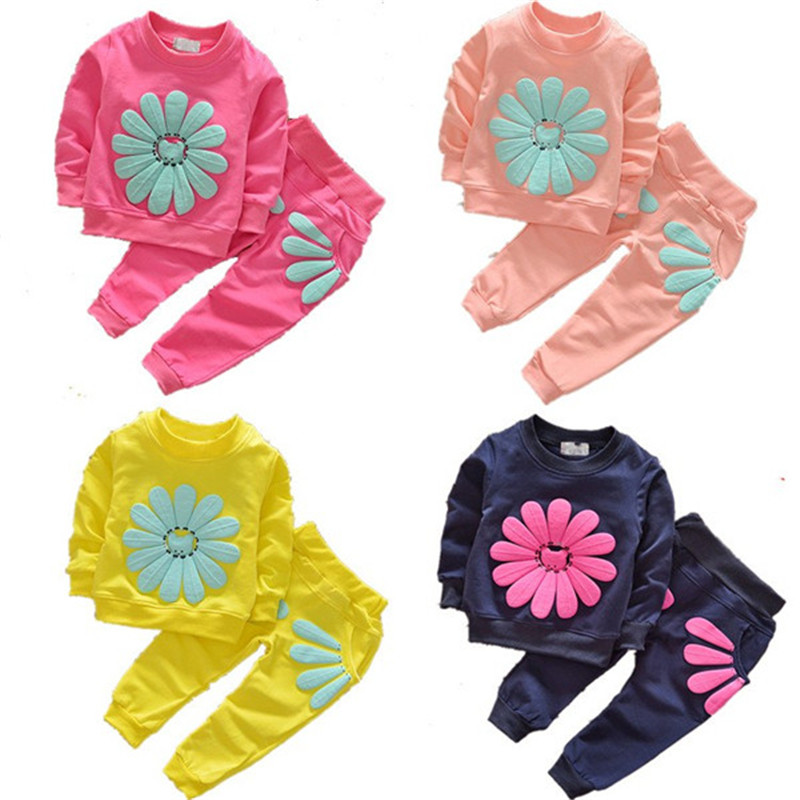 Spring Autumn Baby Girls Toddlers Kids Clothing Suit 2pcs Outfits Costume Cotton Sports Floral Long Sleeves Shirts+Long Pants мужские ботинки spring autumn hightop size38 45 2