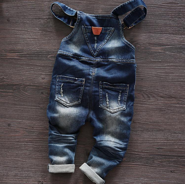 Gratis frakt 2018 vårhöst Baby pojke overaller bib barn denim byxor - Barnkläder - Foto 2