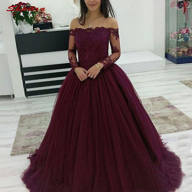 Burgundy Long Sleeve Quinceanera Dresses Ball Gown Off Shoulder Prom Debutante Sixteen 15 Sweet 16 Dress Vestidos De 15 Anos