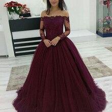 214f195ca Borgoña manga larga vestidos Quinceanera vestido de hombro de Debutante 16  15 dulce 16 vestido vestidos de 15 años