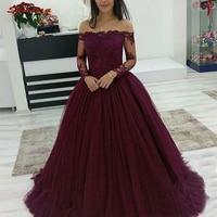Burgundy Long Sleeve Quinceanera Dresses Ball Gown Off Shoulder Prom Debutante Sixteen 15 Sweet 16 Dress vestidos de 15 anos