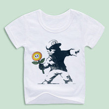 New Super Mario Boy Girl T Shirts Children's Funny Design Digital Printing Combed Casual T-shirts Baby Banksy Clothing