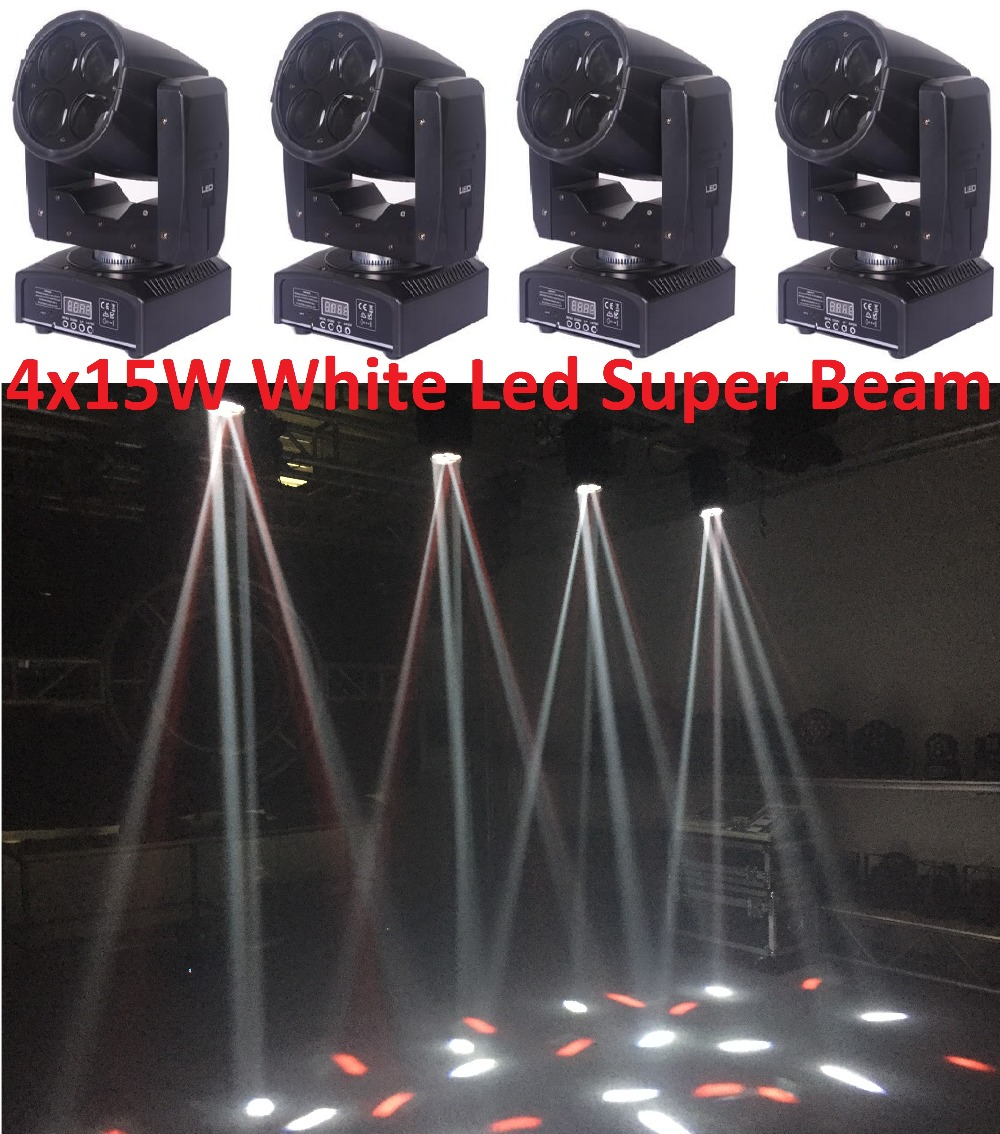 4pcs Free Shipping 60W Led Moving Head Beam Spot Wash Effect Light 4x15W Super Bright Mini Stage Lighting DJ KTV Disco Projector