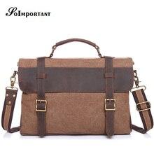 Genuine Crazy Horse Leather Oil Wax Canvas Laptop  Briefcases Men Bag Luxury Designer Mens Shoulder Messenger Bag Men Travel Bag