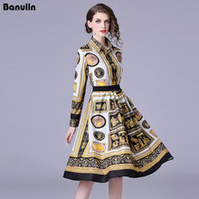 Banulin Floral Print Vintage Pleated Shirt Dress Women Autumn Runway Designer Set High Quality Fashion 2018 Robe Femme