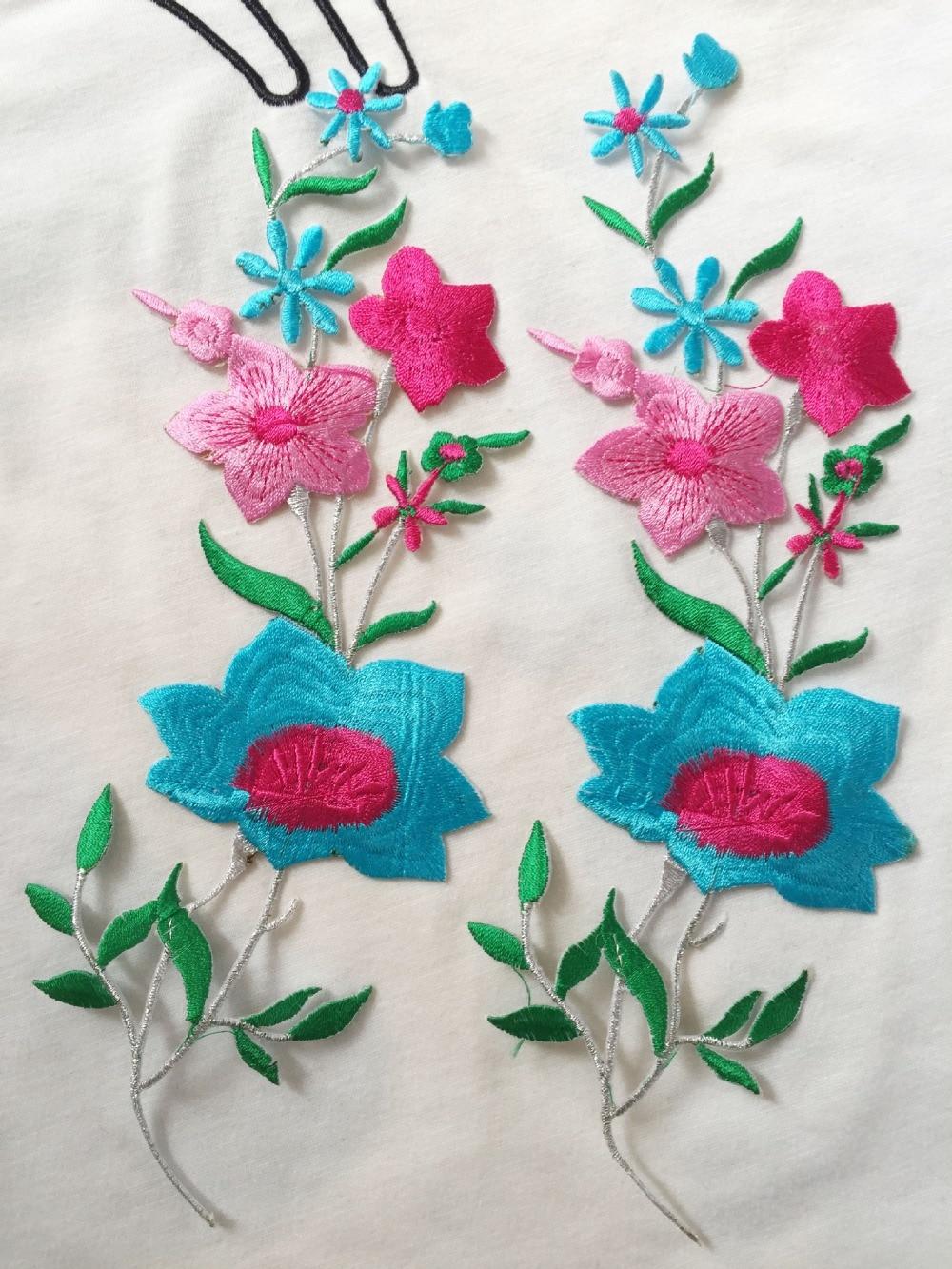 ᑐ11*23 cm hierro bordado en los remiendos del bordado de la flor ...