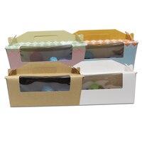 DHL 80 шт./лот 24*8.8*10 см Cookies Упаковочная коробка для тостов запеченные Еда Дисплей w/ прозрачное окно Портативный Бумага Вышивка Крестом Пакет п
