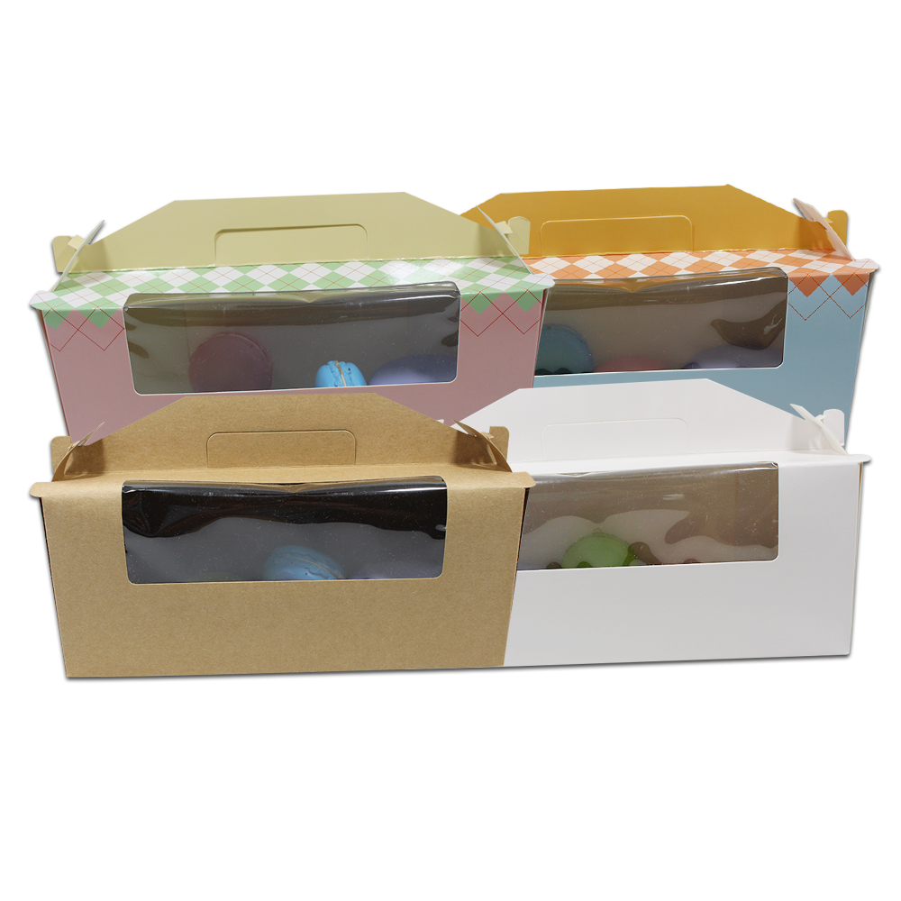 DHL 80 pcs/Lot 24*8.8*10 cm biscuits boîte d'emballage pour pain grillé affichage des aliments cuits au four avec fenêtre transparente Portable paquet de papier boîte-cadeau