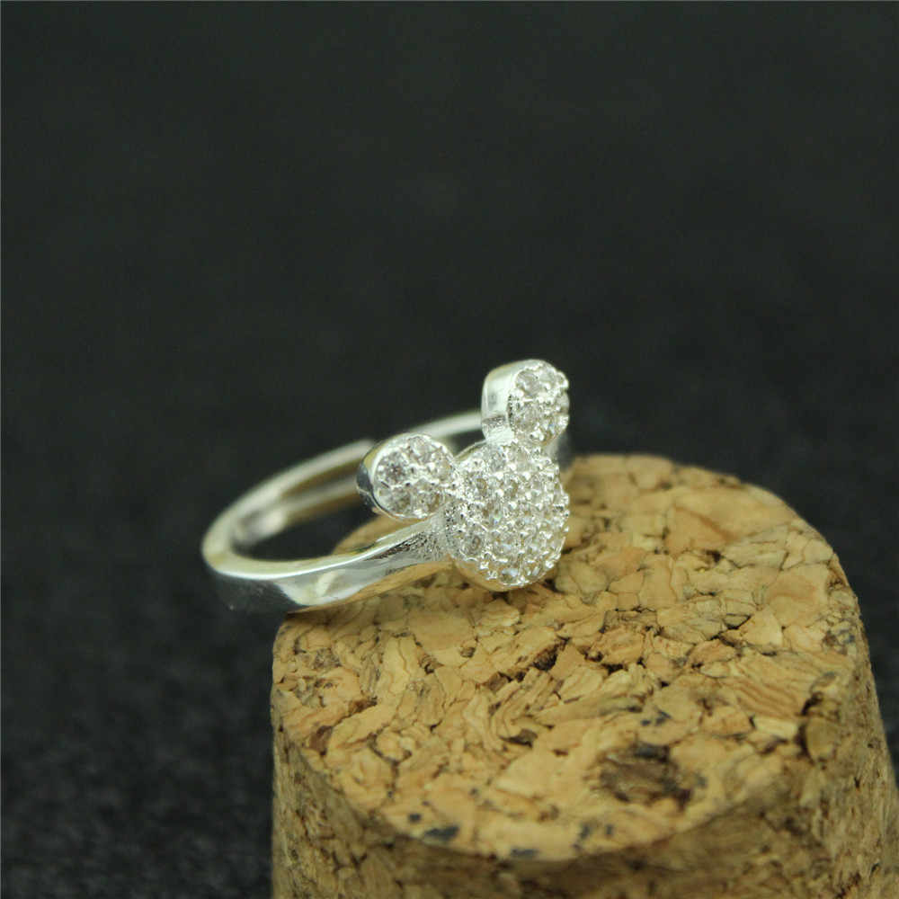 0ffb0093b The new mickey woman ring 925 sterling silver open ring fashion lovely  Female money inlay zircon