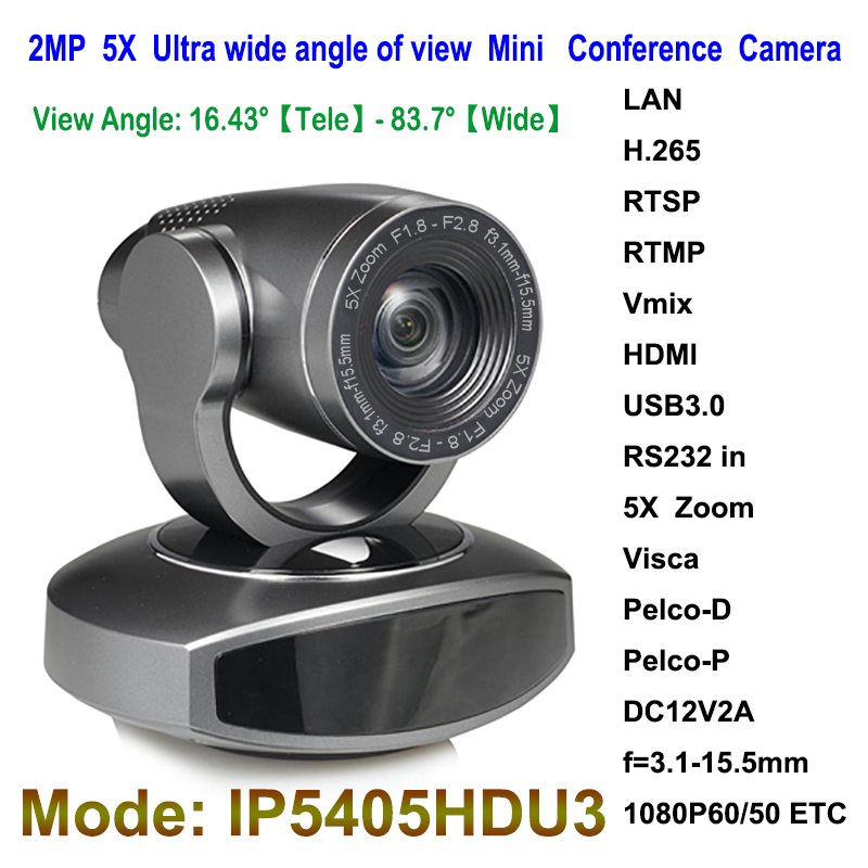 Mini HD 1080P PTZ USB3.0 IP Video Conference Camera Wide Angle 5X Optical Zoom with HDMI Output image