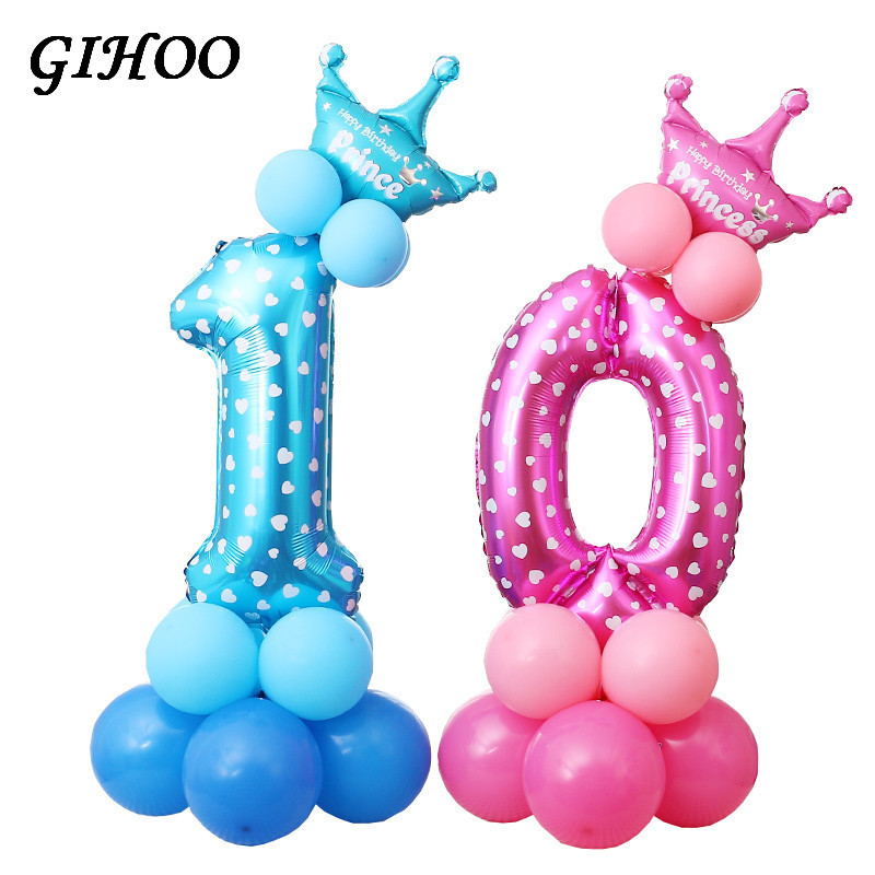 Useful Gihoo 1 Set Birthday Balloon Blue Pink Number Foil Balloons 1 2 3 4 5 6 7 8 9 Years Happy Birthday Party Decorations Kids Ballon Ballons & Accessories