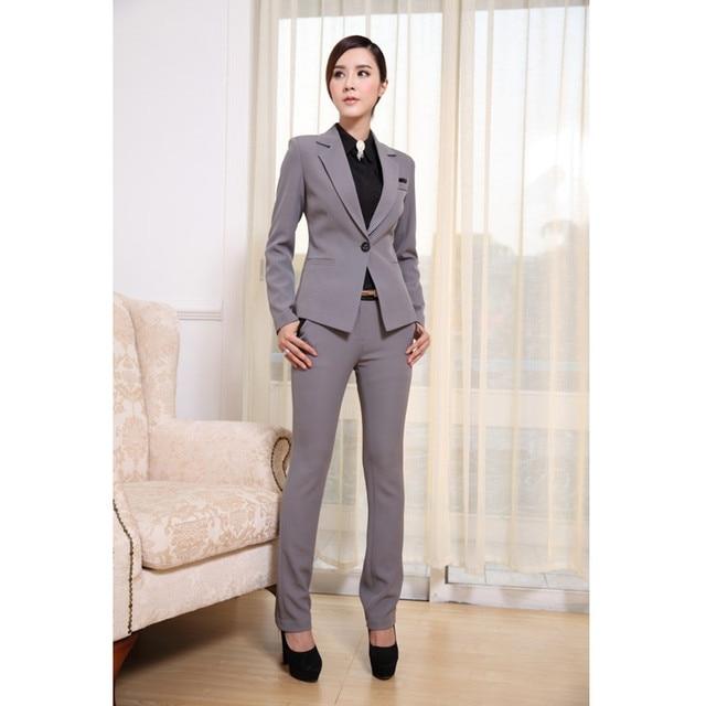 da833e1d928 Women Business Suits Formal Office pants Suits Work wear 2 Piece Set One  Button Uniform Designs Blazer Suit