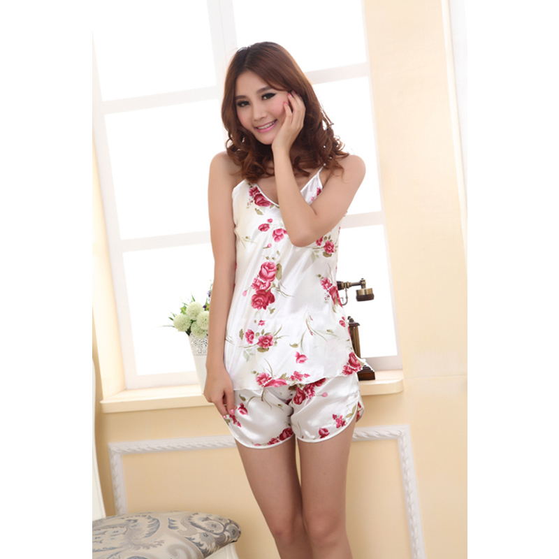 2019 New Hot Sexy Ladies Ice Silk Nightwear Rose Flower V-neck Satin Strapped Sleepwear Nightgowns 2Pcs/Set Summer