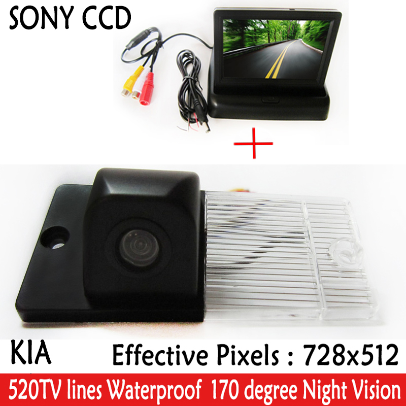 "Auto Parking Assistance Car CCD RearView Camera With 4.3"" Color LCD Car Video Foldable <font><b>Monitor</b></font> Camera <font><b>For</b></font> <font><b>KIA</b></font> SORENTO SPORTAGE"