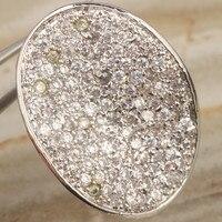 Telkari Beyaz Kristal 925 Ayar Gümüş Moda Ayarlamak & Trendy kadın Takı Yüzük Boyutu 6 7 8 9 S0879