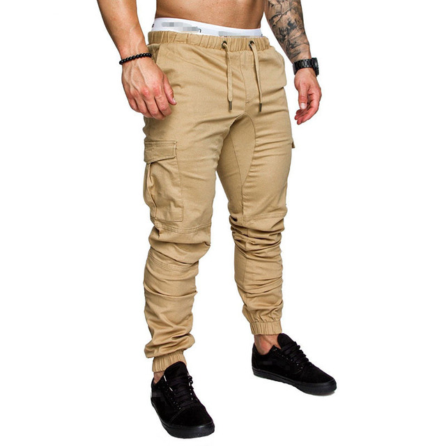 IceLion 2019 New Fashion Pants Men Solid Elasticity Men's Casual Trousers Mens Joggers Drawstring Multi-pocket Pants Sweatpants 1