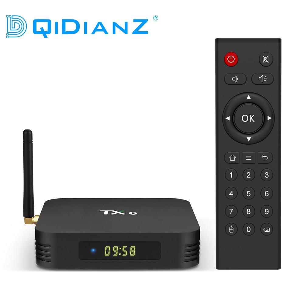 Tanix tx6 android 9.0 smart tv caixa allwinner h6 quad core suporte 2.4g & 5g sem fio wifi 4g 32g conjunto caixa superior media player tx6