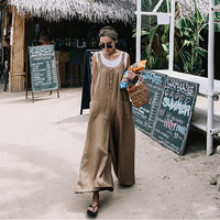Johnature New 2019 Cotton Linen Korean Casual Large Size Loose Sleeveless Long Jumpsuits Summer Women Clothes Joker Playsuits