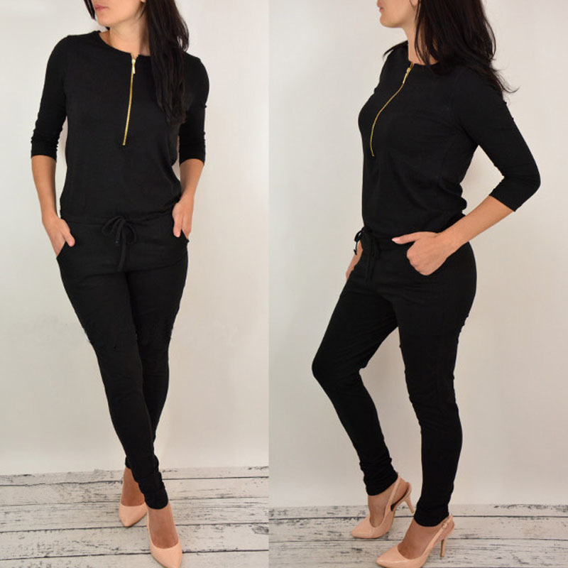 Women Long Sleeve  Mid Waist Black Gray Cotton Thin  Zipper  Jumsuit Rompers Casual Jumpsuit For Ladies Female 2017 #1
