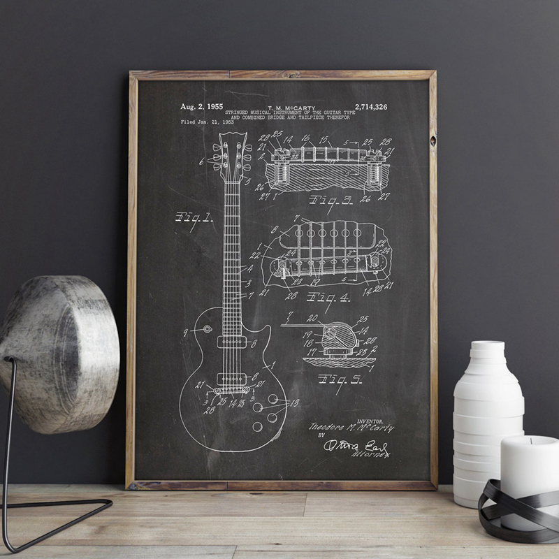 Gibson Les Paul Guitar Patent Vintage Poster Prints Home Decor Vintage Blueprint Canvas Painting Picture Gift Music Decorations